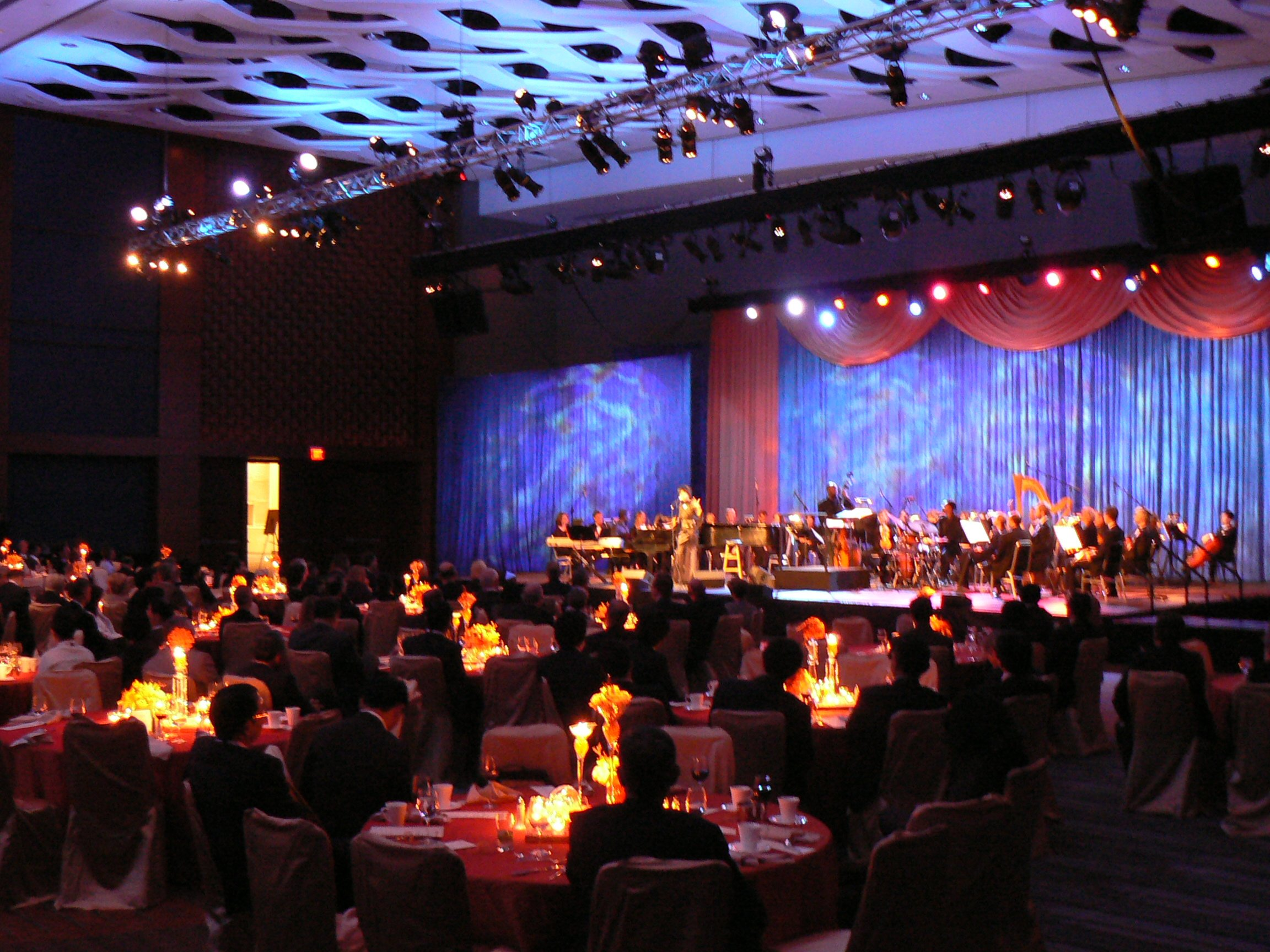 Convention Center Ballroom Transformed into Banquet and Stage