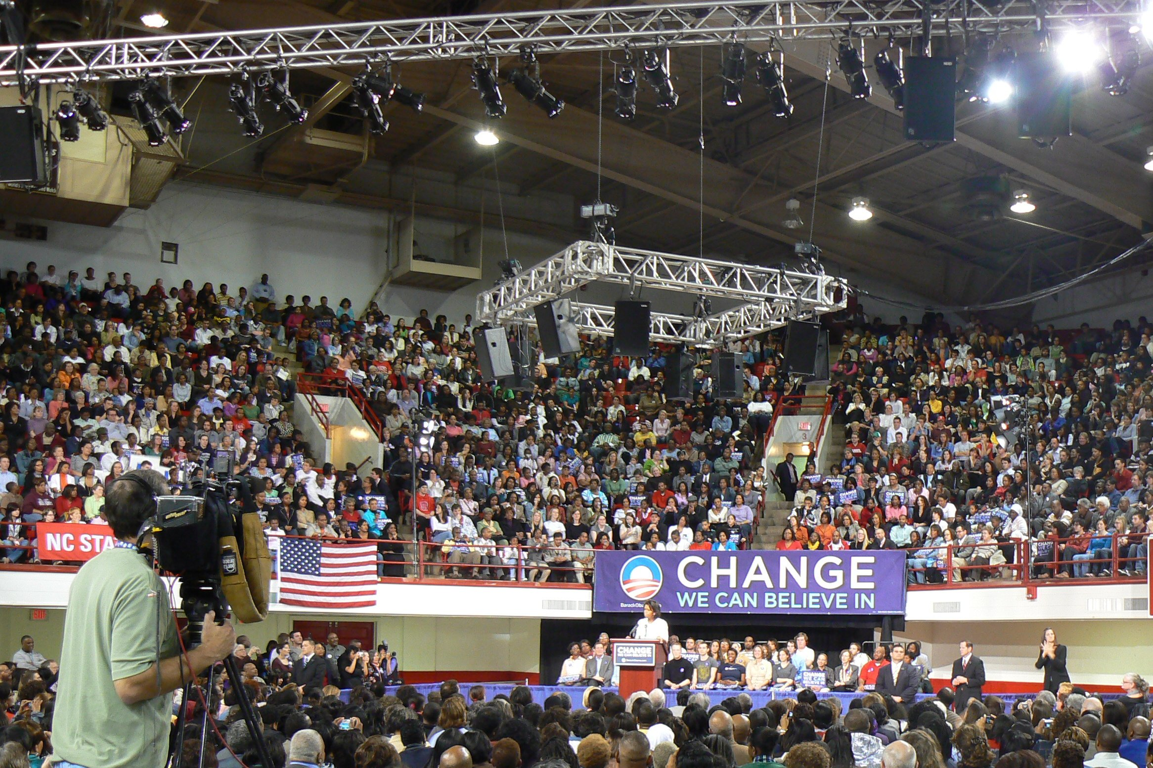 Basketball Arena Transformed for Political Event
