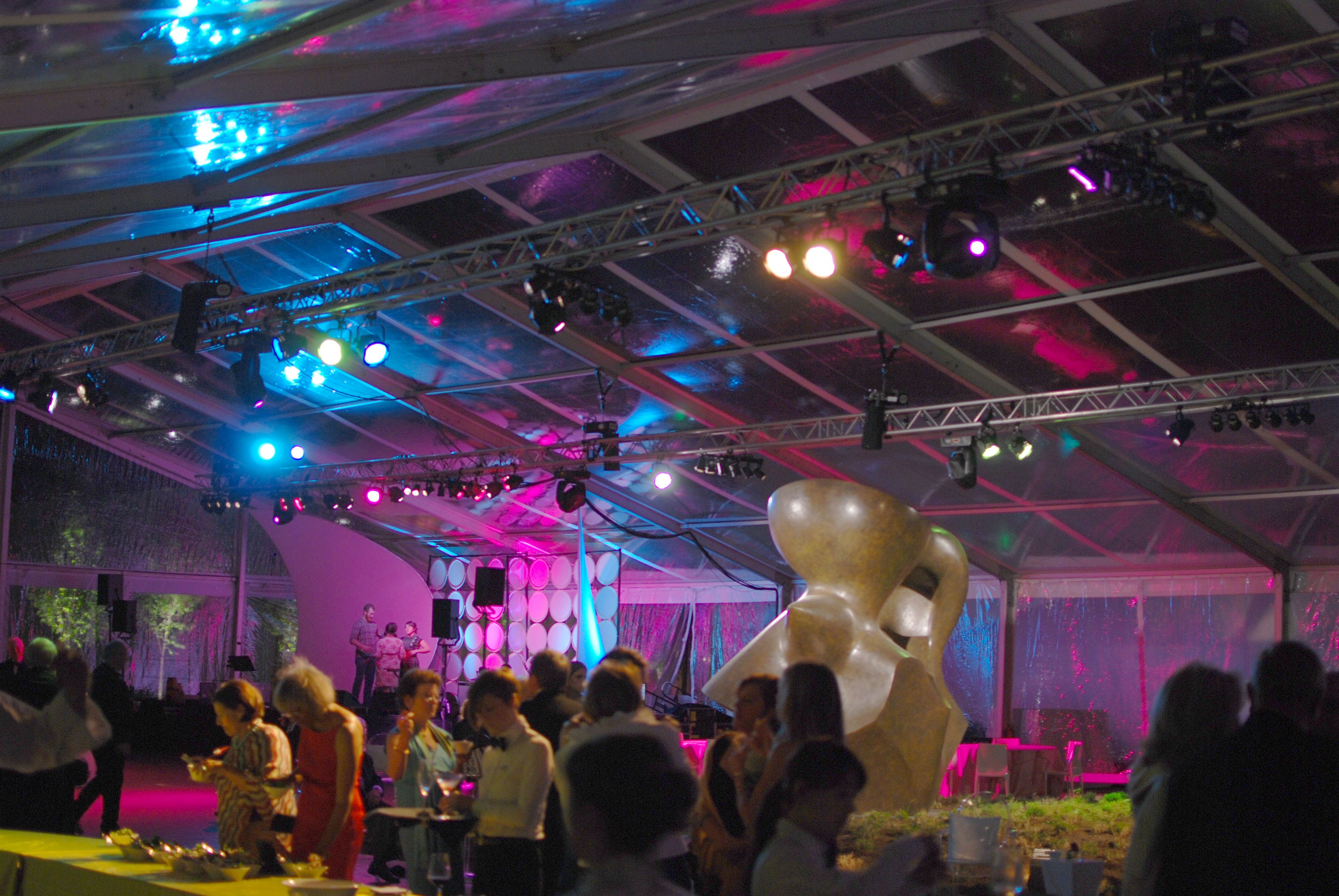 Tent at a Museum Event Lit with Two Truss Spans