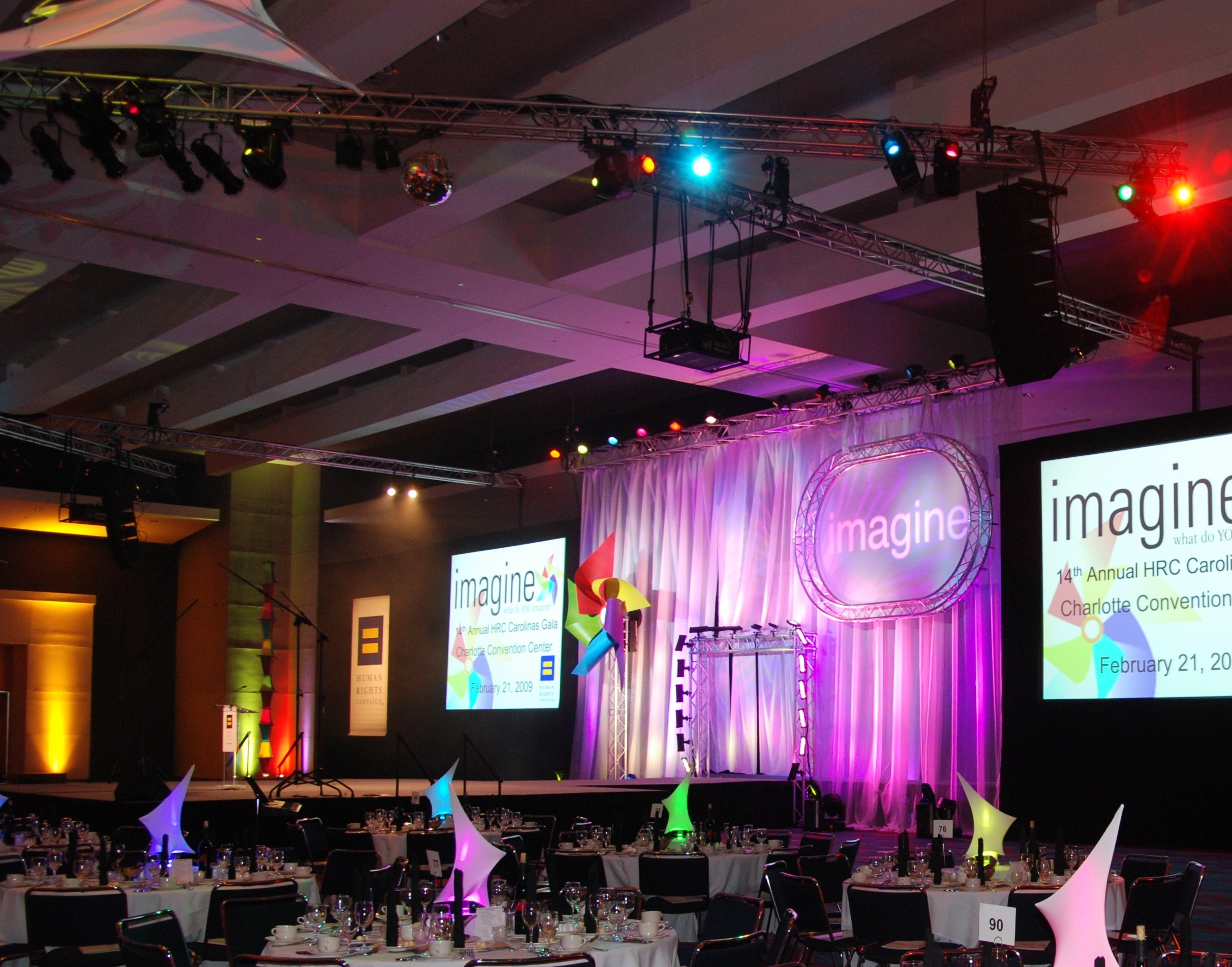 Convention Center Ballroom Transformed for Banquet & Concert